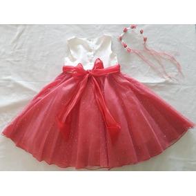 Vestido De Fiesta Niña Talla 8 Salmon Beige Tiara Flores