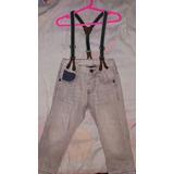 Jeans Pantalon Zara Niño,con Tiradores,12 A 18 Meses, 1 Año