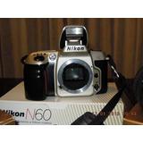 Cámara Fotográfica Nikon N60 Con Dos Lentes Y Estuche.