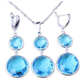 Conjunto Collar Y Aros Plata Color Azul Talle Grande 0ba9ef66c40