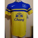 Camiseta Everton Inglaterra 2013 2014 Lukaku #17 Bélgica T M