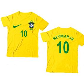 Camiseta Infantil Seleção Brasil Neymar Personalizada C Nome