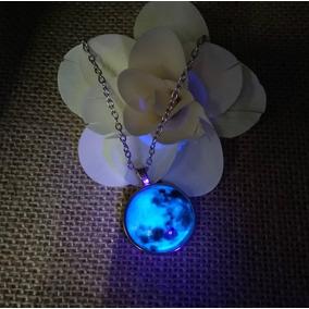 Collar Dije Luna Acero Inoxidable Brilla En La Oscuridad Lov