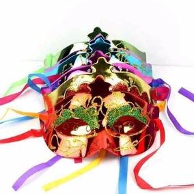 100 Antifaz Plastico Diamantina Carnaval Fiesta Batucada