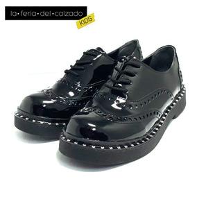 Zapatos Acordonados De Niñas Botineta Charol (ml/22)