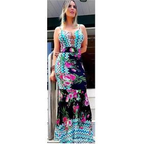 Vestido Longo Tirinhas No Decote Estampa Floral