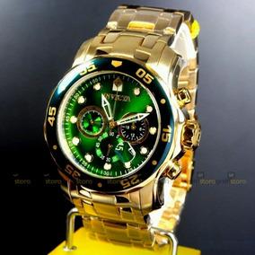 Relógio Invicta Pro Diver 0075 Verde Original B. Ouro 18k