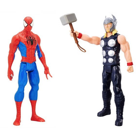 Kit Boneco Thor C/ Martelo C0758 + Homem Aranha B5753 Hasbro