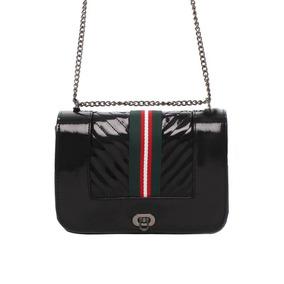 Bolsa Em Verniz Black Ou Red Listras Esportiva 10387999