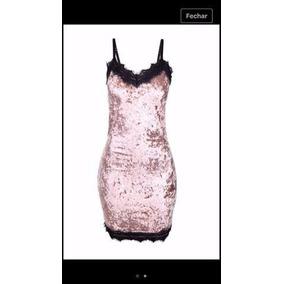 Vestido Feminino Veludo Molhado Renda Guipir Instagram