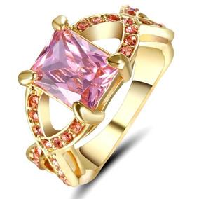 Aro 20 Anel Feminino Rainha Cristal Rosa 3banhos Ouro 249 H