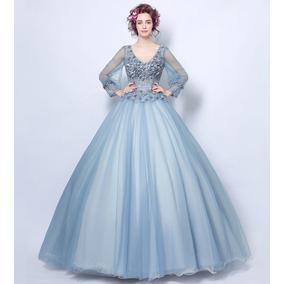 Vestido De Noiva - Azul - 34 36 38 40 42 44 46 - Va00438