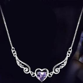 Hermoso Collar Corazon Joyeria Moda Elegante Alas Angel