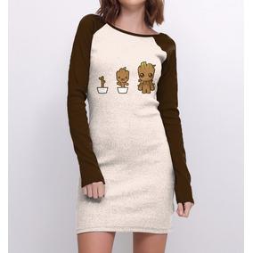 Vestido Raglan Feminino Groot Guardiões Galáxia Baby Fofo