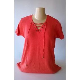 Blusa Tricô Modal Com Ilhós M G Gg Tamanho Grande Plus Size