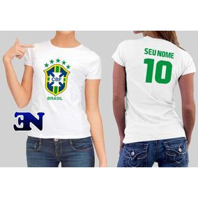Camiseta Copa Do Mundo 2018 Brasil Brasão Futebol Feminina