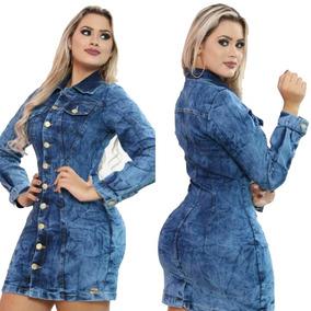 Vestido Feminino Jeans Curto Moda Instagram Outono Inverno
