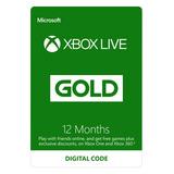 Xbox Live Gold 1 Año 12 Meses Membresia Envio Inmediato!!