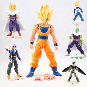 Kit 6 Figure Action Bonecos Dragon Ball Articulado Goku Cell