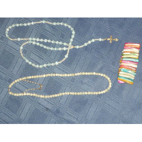Collar Nácar Rosario Nácar Celeste Y Pulsera Multicolor