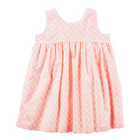 Vestido Carters Naranja Con Blanco Talla 6 Meses