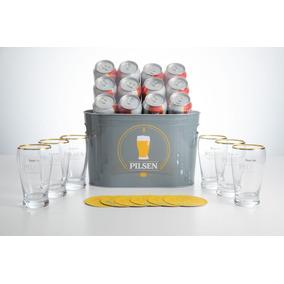 Cerveza Pilsen Lata 354 Cc X 12 +balde +6 Vasos +6 Posavasos