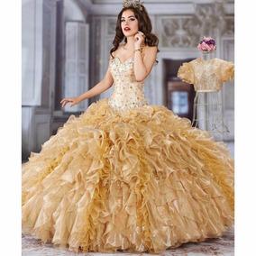b42c51cf11 Vestido Xv Años Dorado Confeccionado Por Diseñadora oferta¡¡