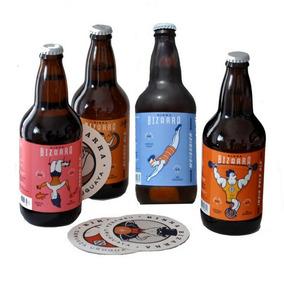 Pack 4 Cerveza Bizzarra + 4 Posavasos - Amb+blo+ipa+weiss