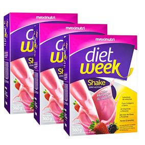 Shake Diet Week Morango E Amora 3x360g Maxinutri