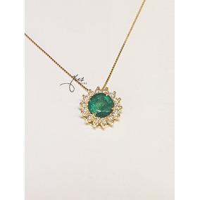 9dab27bdb0bc9 Corrente Com Pingente Em Ouro 18k 750 Esmeralda E Diamantes