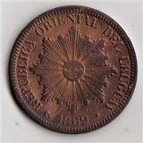 Ch Uruguay Cobre Antiguo 1869 A Excelente Moneda 4 Cent