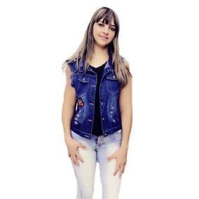 d001c92233 Colete Curto Feminino Jeans Com Perola Pra Verao Pronta Entr