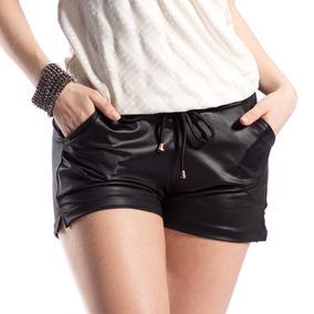 Short Feminino Cintura Alta Couro Fake Tecido Cirre