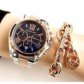 Relógio Feminino Michael Kors Mk5606 Misto Azul Rose Origina