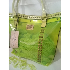 Cartera Bolso Cristal Apliques Tachas Verde Manzana/ Naranja