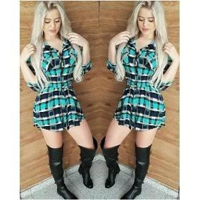 Vestido Feminina Xadrez Laço Camisão Moda Chemise Ref: 407