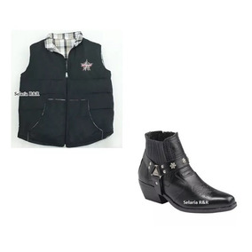 Colete Country Pbr Monster + Botina Bota Masculina Country