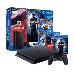 Video Game Ps4 500 Playstation 4 Slim + 3 Jogos Físicos