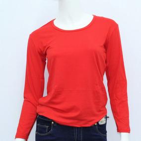Remera Camiseta Manga Larga Dama Con Felpa Rojo Lisa