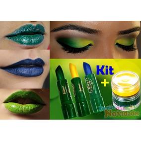 Kit Batom Verde Amarelo E Azul+tinta De Rosto Copa Do Mundo