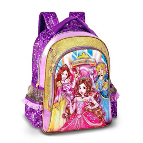 Mochila P/menina Infantil Costas Princesas Lilas Original