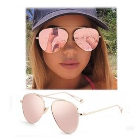 Lentes Dama Aviador Gafas Rosa Mujer Funda Y Paño