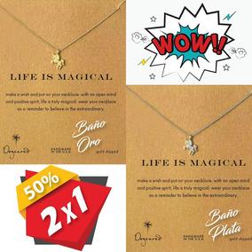 Collar Unicornio Baño Oro Y Plata Al 2x1 + Envío Gratis