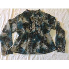 Camisa Blusa De Salir Chatelet Animal Print Cuello Mao