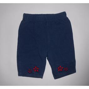 Pantalón Azul Marino De Pants Con Flores Talla 0-3 Meses