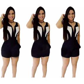 Macaquinho Macacão Curto Feminino 3d Panicat Bolso