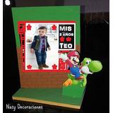 Centro De Mesa Mario Bros Porta Retrato Base En Madera