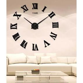 Reloj Gigante De Pared. Números Romanos. Color Negro.