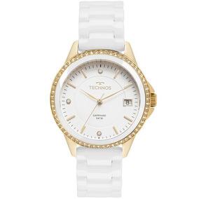 045f007380ccf Rel Gio Technos Ceramic  sapphire Branco dourado 2036lnd 4b ...