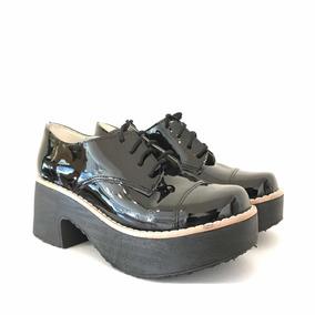 90bfb4721f5f7 Zapatos Mujer Charol Cordones - Botas y Botinetas Borcegos de Mujer ...